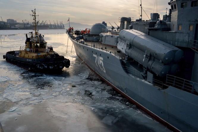 Tàu kéo cạnh tàu khu trục Bystryi khi thả neo ở cảng Vladivostok.