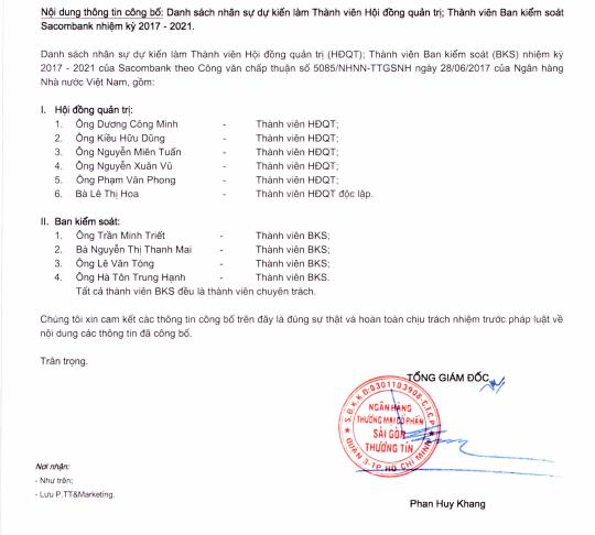 Danh sách nhân dự dự kiến làm thành viên HĐQT và BKS của Sacombank được NHNN thông qua
