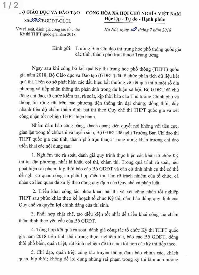 """Hậu """"cú sốc"""" Hà Giang, Bộ trưởng Nhạ đề nghị rà soát công tác tổ chức Kỳ thi THPT quốc gia năm 2018 trên cả nước ảnh 1"""