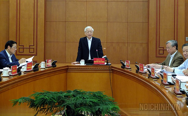 Đồng chí Nguyễn Phú Trọng, Tổng Bí thư, Chủ tịch nước, Trưởng Ban Chỉ đạo chủ trì Cuộc họp
