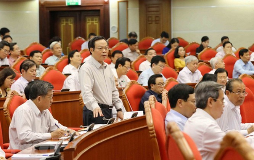 Các đại biểu làm việc tại Hội nghị Trung ương 7, khóa XII diễn ra vào tháng 5/2018. Ảnh: TTX