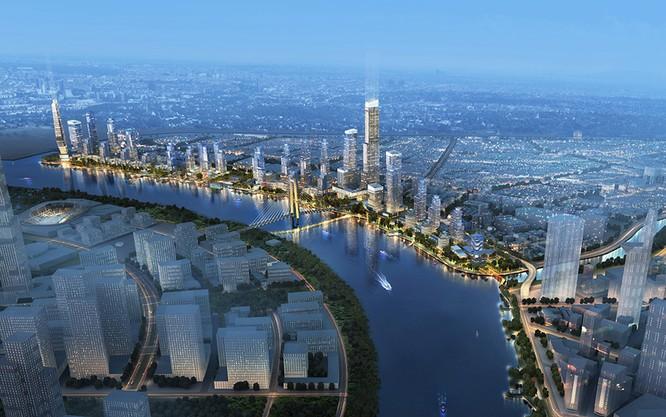 Bóng dáng khu phức hợp ven sông Sài Gòn nhìn từ một bức hình minh họa