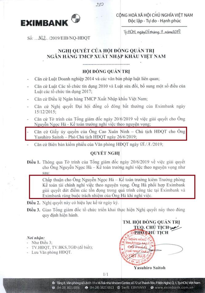 Tại sao Chủ tịch Eximbank Cao Xuân Ninh ủy quyền cho Phó Chủ tịch Yasuhiro Saitoh? ảnh 1