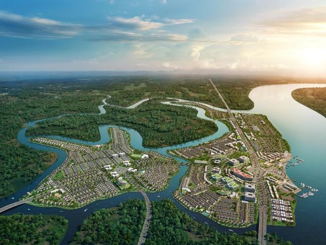 Phối cảnh Khu đô thị sinh thái thông minh Aqua City với hơn 600 ha của tập đoàn Novaland. Không chỉ sở hữu không gian sống xanh đẳng cấp, dự án còn tọa lại tại tâm điểm kết nối phía Đông TP.HCM