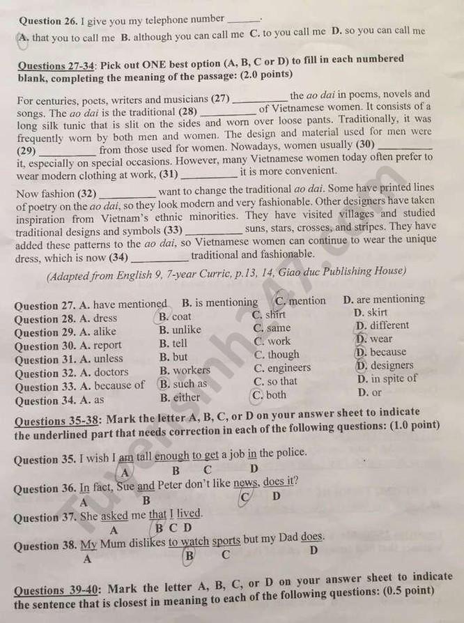 Tra cứu online đáp án đề thi tuyển sinh vào lớp 10 môn Tiếng Anh tỉnh Tiền Giang năm 2020 ảnh 5