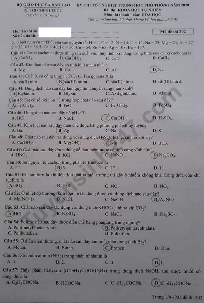 Tra cứu online đáp án đề thi tốt nghiệp THPT 2020 môn Hóa học mã đề 202 ảnh 5