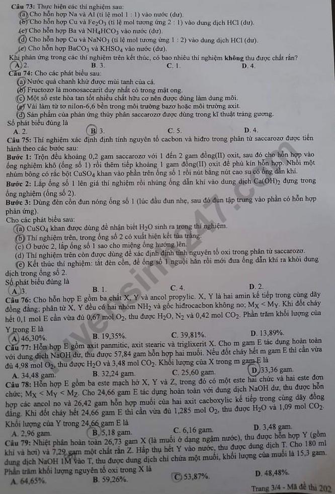Tra cứu online đáp án đề thi tốt nghiệp THPT 2020 môn Hóa học mã đề 202 ảnh 3