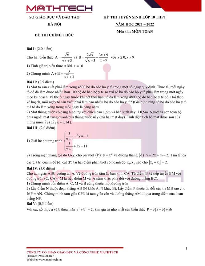 Đáp án đề thi tuyển sinh lớp 10 môn Toán TP Hà Nội năm 2021 ảnh 1