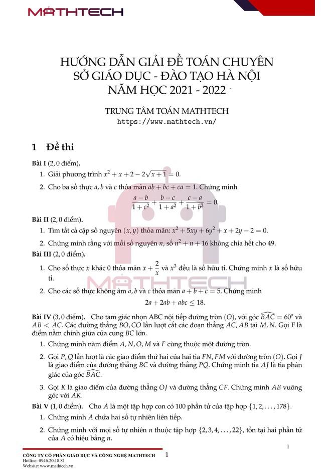 Đáp án đề thi Toán chuyên vào lớp 10 tại Hà Nội năm học 2021 ảnh 2