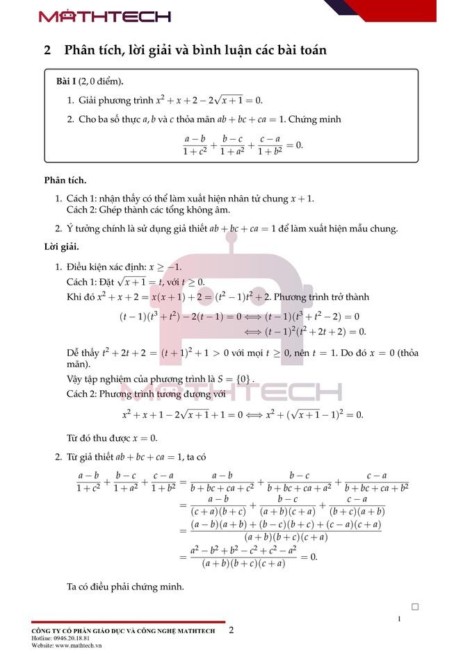 Đáp án đề thi Toán chuyên vào lớp 10 tại Hà Nội năm học 2021 ảnh 3