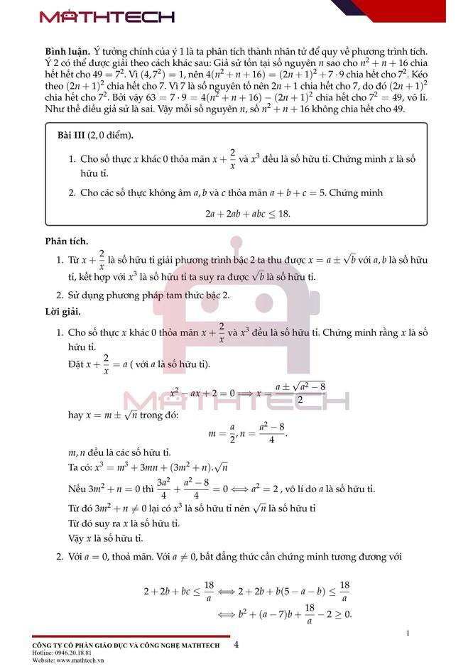 Đáp án đề thi Toán chuyên vào lớp 10 tại Hà Nội năm học 2021 ảnh 5