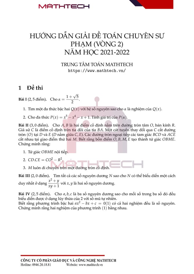 Đáp án đề thi Toán chuyên vào lớp 10 Trường Chuyên ĐH Sư phạm Hà Nội năm 2021 ảnh 2