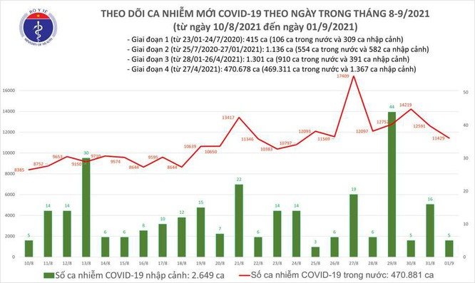 Tin COVID-19 hôm nay ngày 01/9: 11.434 ca nhiễm mới tại 39 tỉnh thành ảnh 1