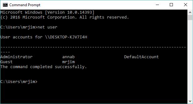 Gõ net user vào cửa sổ Command Prompt - Ảnh bởi Jimm Carton/TechAdvidsor