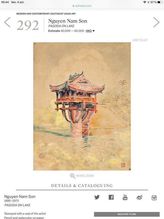 """Bức """"Pagoda on Lake"""" mà Sotheby's đang rao bán vào phiên đấu giá ngày mai 6/10"""