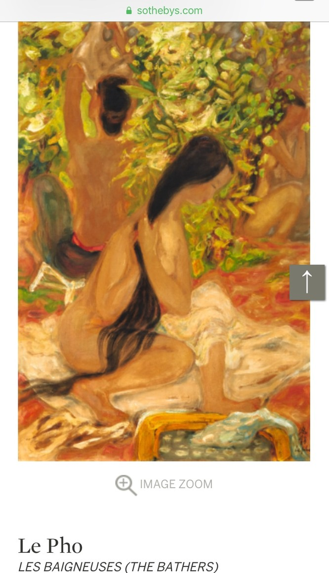 """Bức """"Les Baigneuses"""" (The Bathers) đề tên Lê Phổ cũng có giá gõ búa lên tới 135,416 USD"""