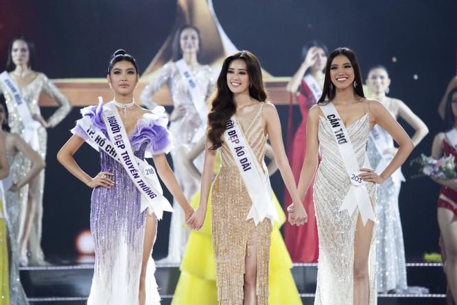 Ba cô gái đẹp nhất cuộc thi Hoa hậu Hoàn vũ Việt Nam 2019: Thúy Vân, Khánh Vân, Kim Duyên.