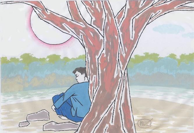 Chàng Ba ngồi dưới gốc cây lớn ở phiên chợ Khau Vai ngày 27/3