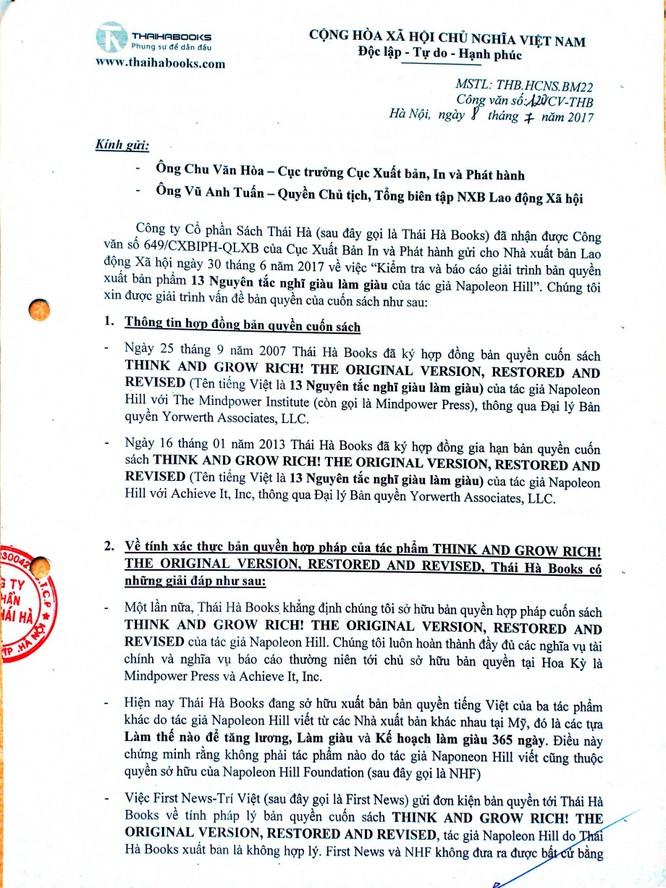 Thái Hà Books nói lại về vụ tranh chấp bản quyền cuốn sách dạy làm giàu với First News ảnh 2