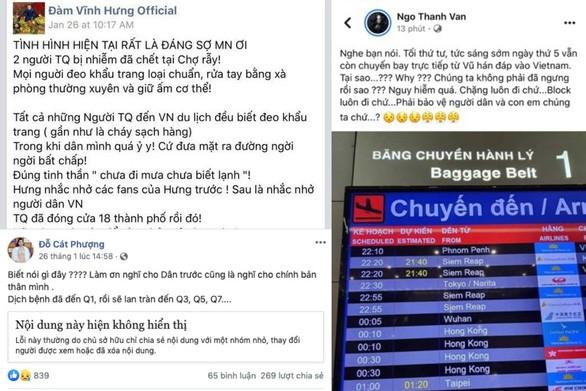 Đàm Vĩnh Hưng, Ngô Thanh Vân, Cát Phượng đưa thông tin sai về virus Corona trên trang cá nhân