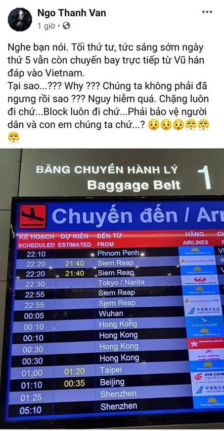 Chia sẻ của Ngô Thanh Vân về các chuyến bay từ Vũ Hán bị nhiều độc giả phản đối