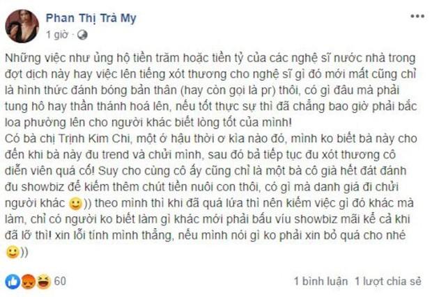 Nguyên văn status của Trà My (Chụp lại màn hình FBNV)