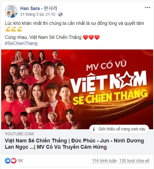 MV thu hút nhiều bình luận tích cực trên trang cá nhân của Han Sara