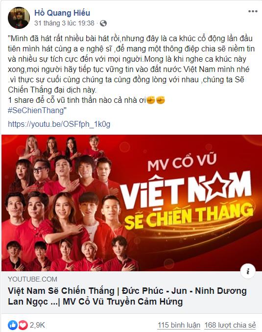 Trang cá nhân của Hồ Quang Hiếu cũng thu hút lượng views và like đáng kể cho MV