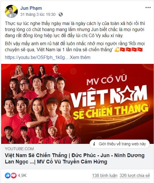 Facebook Jun Phạm cũng thu hút nhiều lượt like và comment tích cực