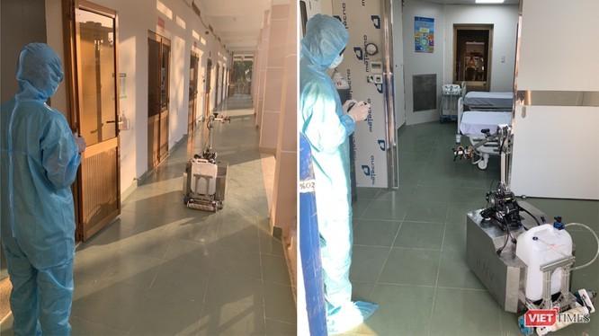 BV Dã chiến Củ Chi đá sử dụng robot khử khuẩn phòng cách ly thay nhân viên y tế giảm nguy cơ lây nhiễm COVID-19 (Ảnh: Hòa Bình ghép)