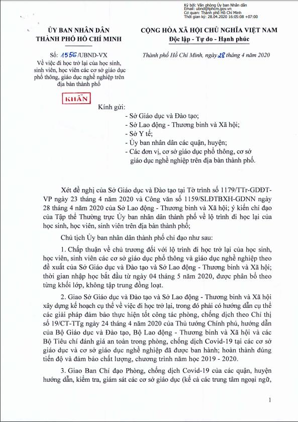 Công văn của UBND TP HCM về lịch đi học lại của HSSV