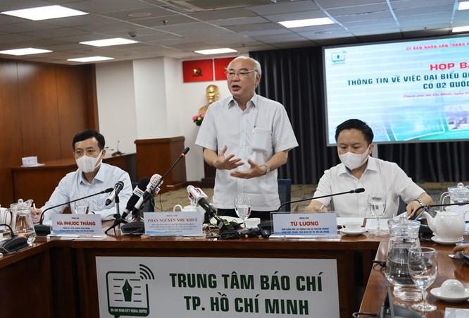 Trưởng Ban Tuyên giáo Thành ủy Phan Nguyễn Như Khuê trao đổi thông tin với báo chí (Ảnh: Khang Minh)