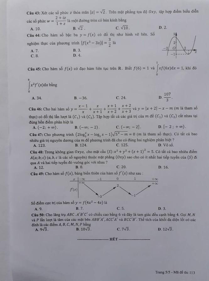 Thi THPT Quốc gia 2019: Đề thi và đáp án 24 mã đề thi môn Toán ảnh 26
