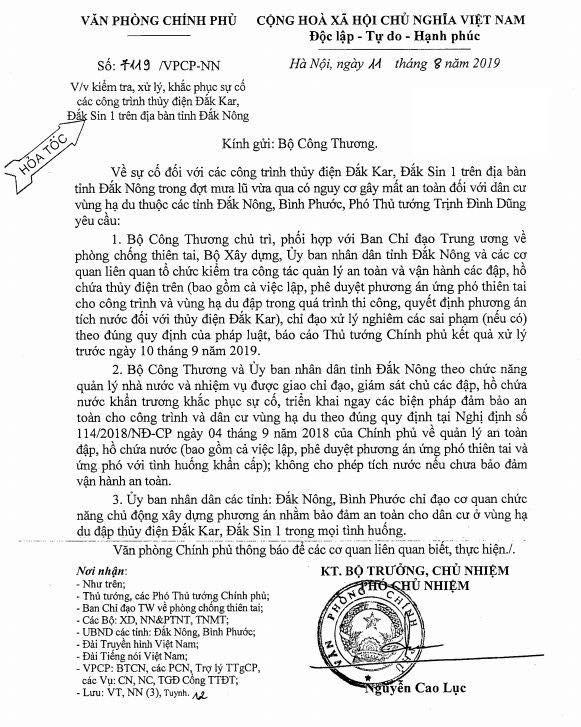 Phó Thủ tướng Trịnh Đình Dũng chỉ đạo khẩn về sự cố 2 công trình thủy điện ở Đắk Nông ảnh 1