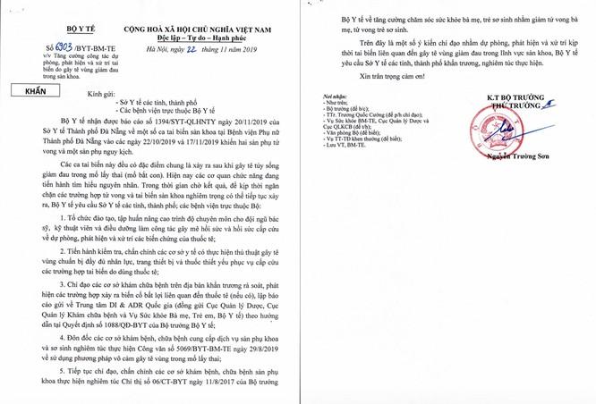 Sau 2 vụ tai biến nghiêm trọng sau sinh mổ tại Đà Nẵng, Bộ Y tế yêu cầu rà soát các liên quan tới thuốc Bupivacaine ảnh 1