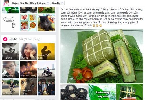 Rao bán bánh chưng trên Facebook.
