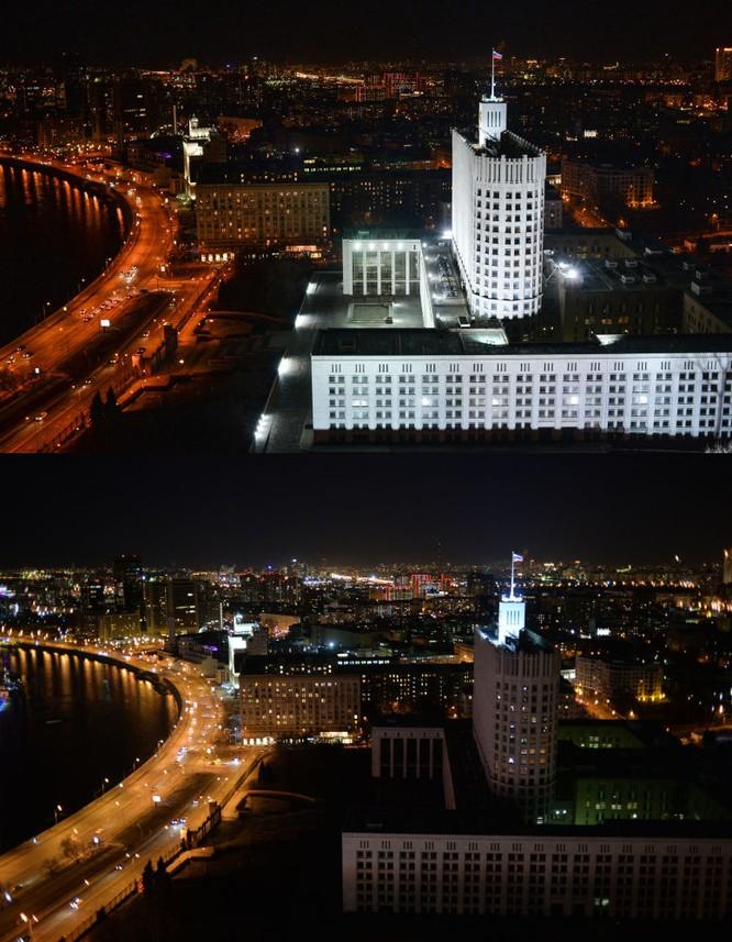 Nhà Chính phủ và tòa Thị chính Moskva trong Giờ Trái Đất