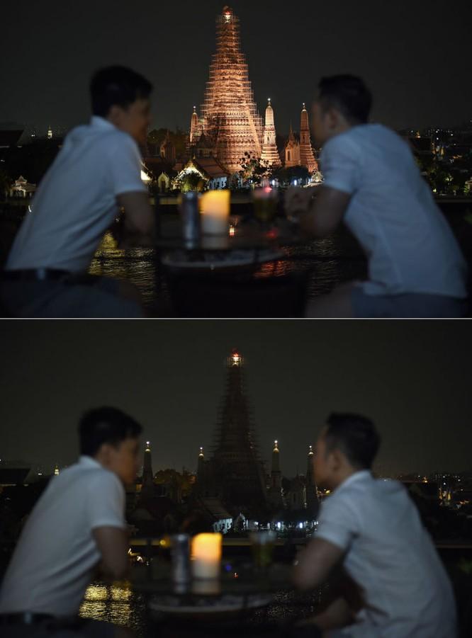 Chùa Wat Arun ở Thái Lan trong Giờ Trái Đất