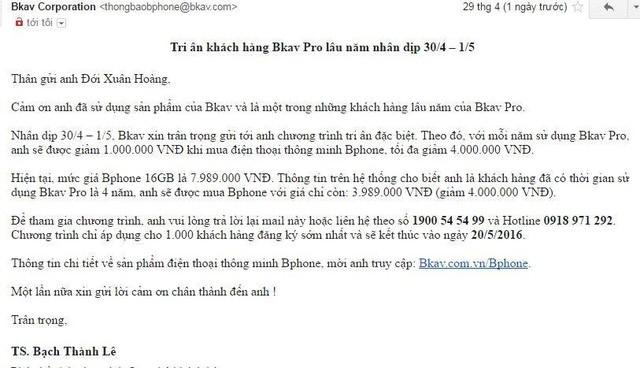 Khách dùng Bkav lâu năm sẽ được mua Bphone giá 4 triệu đồng ảnh 1