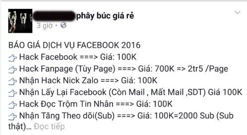 Nở rộ dịch vụ hack nick, đọc trộm tin nhắn Facebook giá rẻ ảnh 1