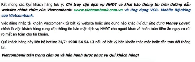 Tranh cãi xung quanh cảnh báo bảo mật của Vietcombank ảnh 1