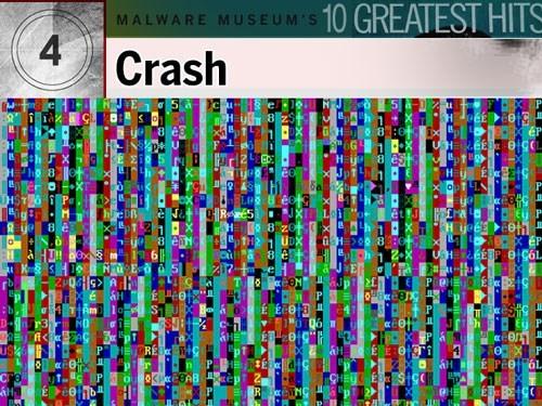 7. Crash: Ít được biết đến như những virus nền DOS khác nhưng virus Crash hầu như nhiễm vào tất cả những file có đuôi .com trên máy bị nhiễm. Tính phổ biến của Crash trên bảo tàng là vì Crash có những dấu hiệu rất đặc trưng. Nó lấp đầy màn hình bằng các màu theo mẫu và những ký tự vô nghĩa, nhấp nháy. Để tắt màn hình, người dùng phải nhấn CTRL-ALT-DEL nhưng khi đó file nào đó trên hệ thống đã bị xóa đi rồi.