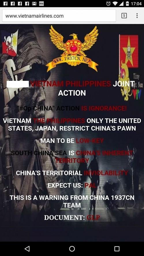 Hình ảnh website Hãng hàng không Việt Nam bị tấn công khi truy cập từ thiết bị di động