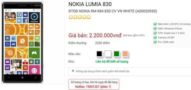 Nokia Lumia 830 giảm giá còn 2,2 triệu đồng ảnh 1