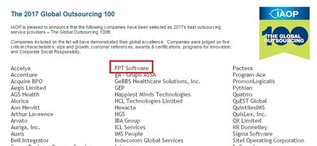 FPT Software tiếp tục lọt top 100 nhà cung cấp dịch vụ outsourcing toàn cầu ảnh 1