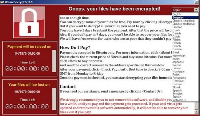 Cửa sổ hiện ra yêu cầu nạn nhân trả tiền chuộc dữ liệu bằng bitcoin