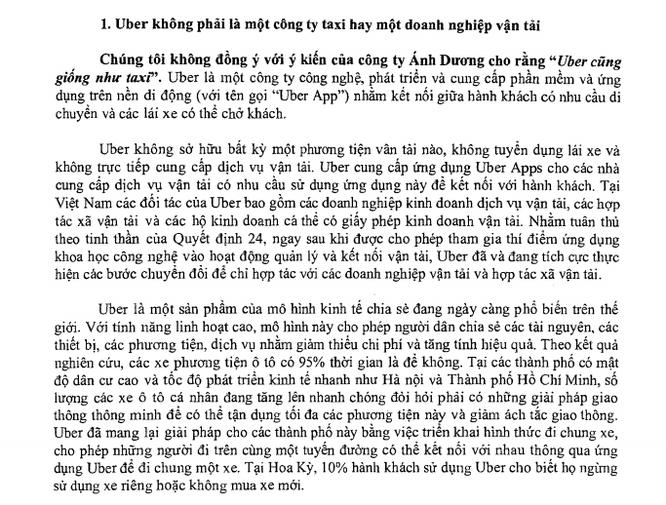 Ảnh chụp màn hình văn bản trả lời của Uber gửi Bộ GTVT trả lời về các kiến nghị của Vinasun.