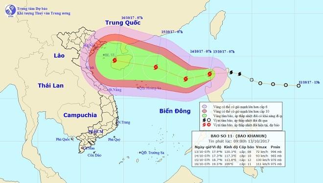 Vị trí và hướng di chuyển của bão số 11. Ảnh Trung tâm Dự báo KTTVTƯ.