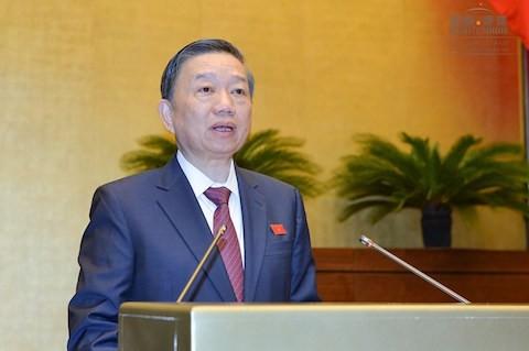 Bộ trưởng Tô Lâm. Ảnh: Quốc hội.