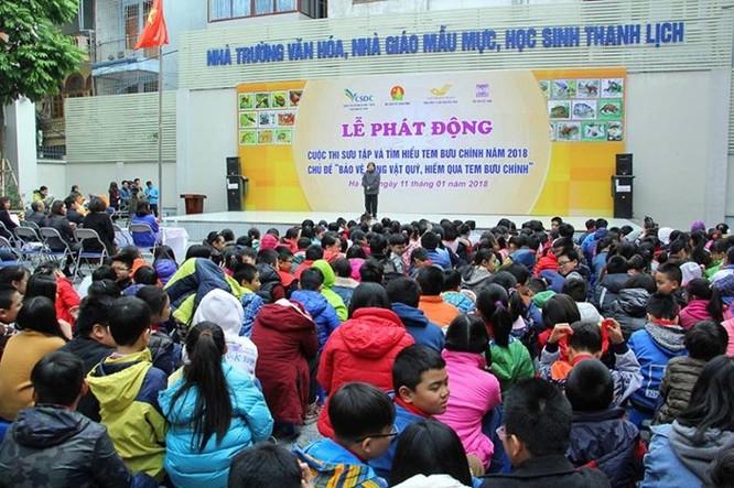 Toàn cảnh Lễ phát động tại trường Tiểu học Chu Văn An, Hà Nội. Ảnh: Thái Anh.